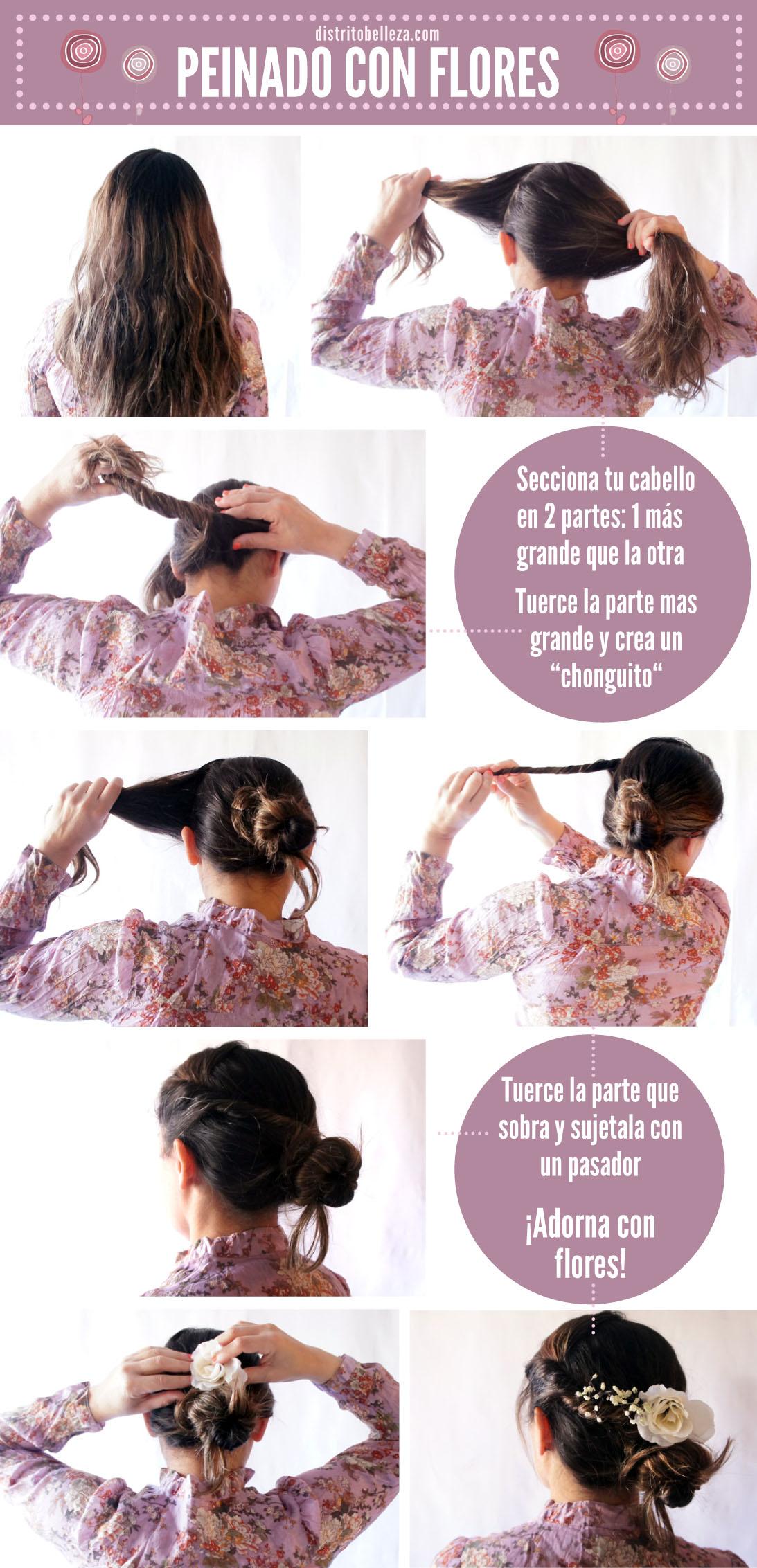 peinado con flores _tutorial