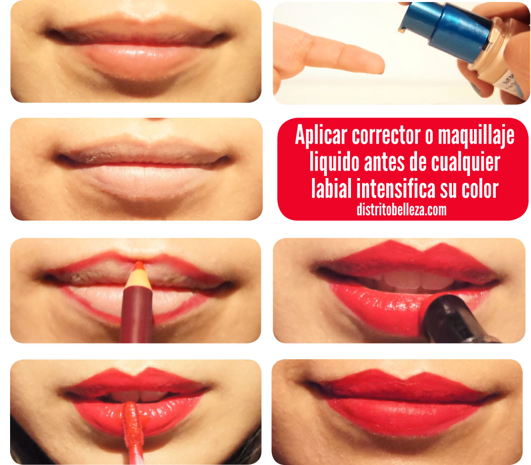 Tips para usar labial rojo distrito belleza for Labios mate paso a paso