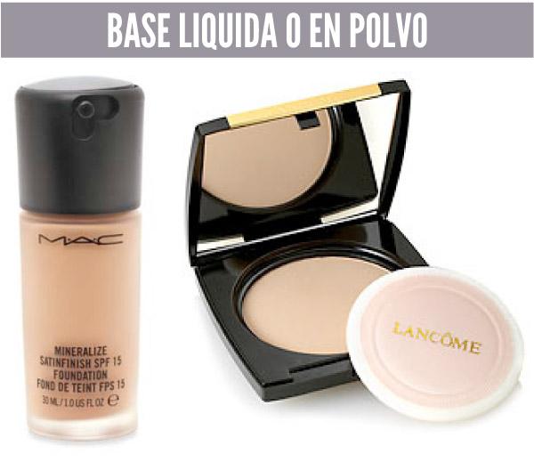 5 cosméticos básicos base liquida o en polvo