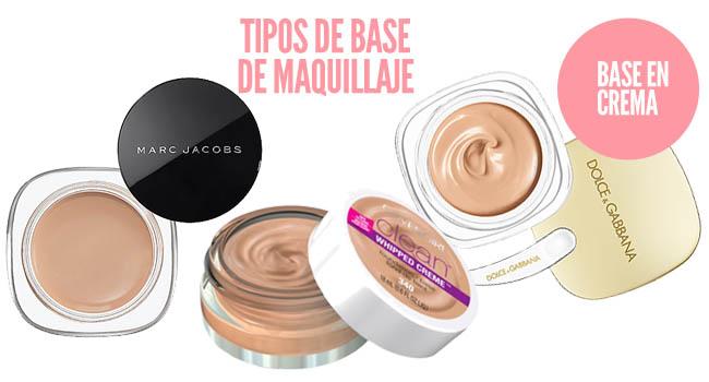 Tipos de bases de maquillaje en crema