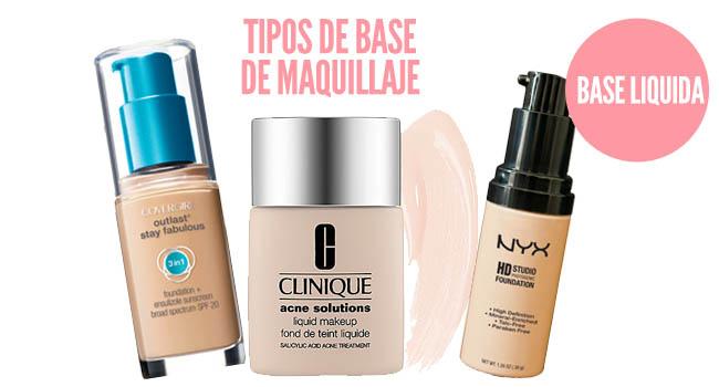 tipos de base de maquillaje liquida