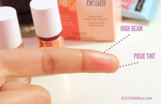 benefit high beam y posie tint difuminado