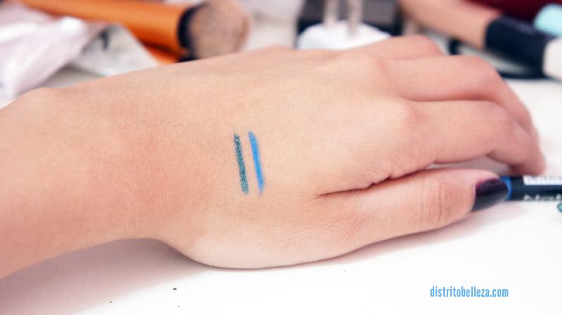 Maquillaje de ojos-delineadores azul y verde