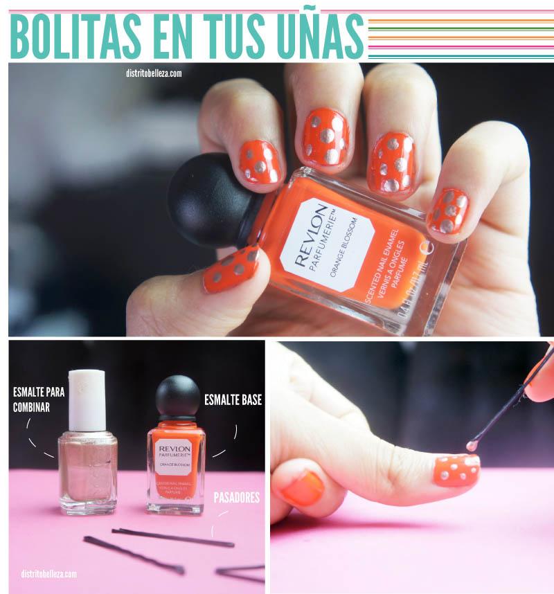 Esmalte con bolitas en las uñas