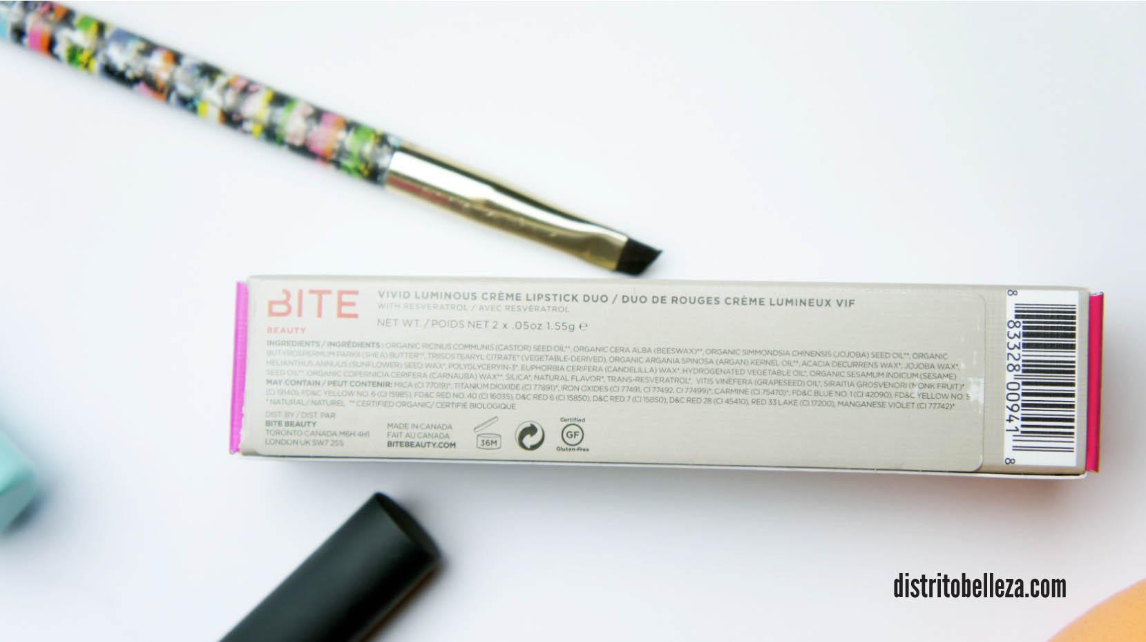 Reseña labiales BITE ingredientes
