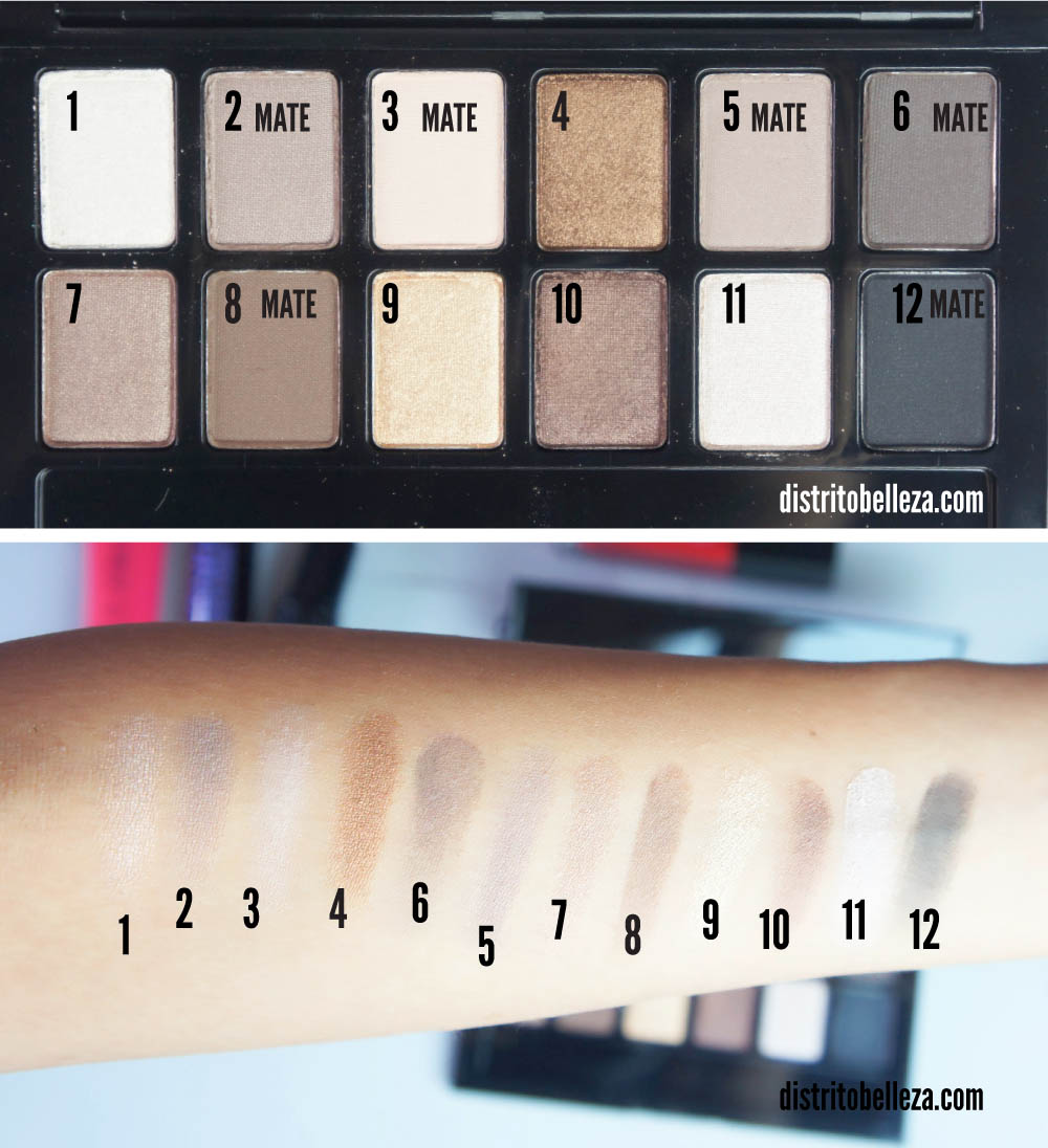 Sombras Maybelline The Nudes colores swatches
