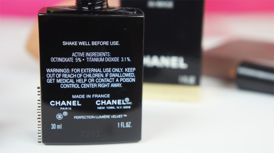 Maquillaje Chanel perfection lumiere Velvet ingredientes