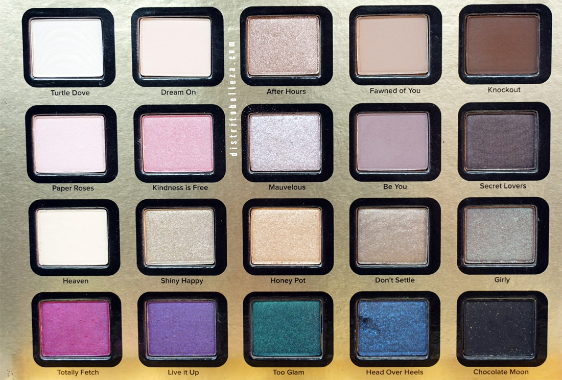 Sombras Too Faced Everything nice colores sombras