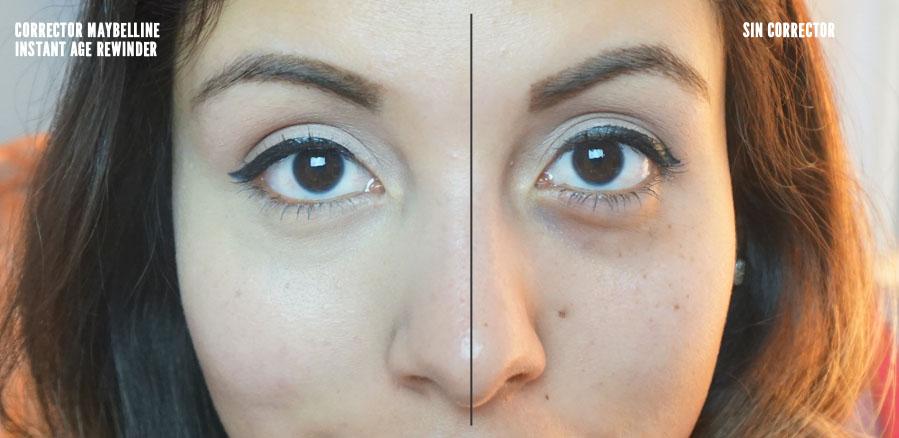 Maquillaje maybelline instant age rewind antes y despues