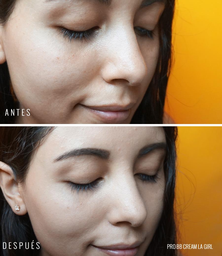 Pro BB Cream LA Girl antes y después