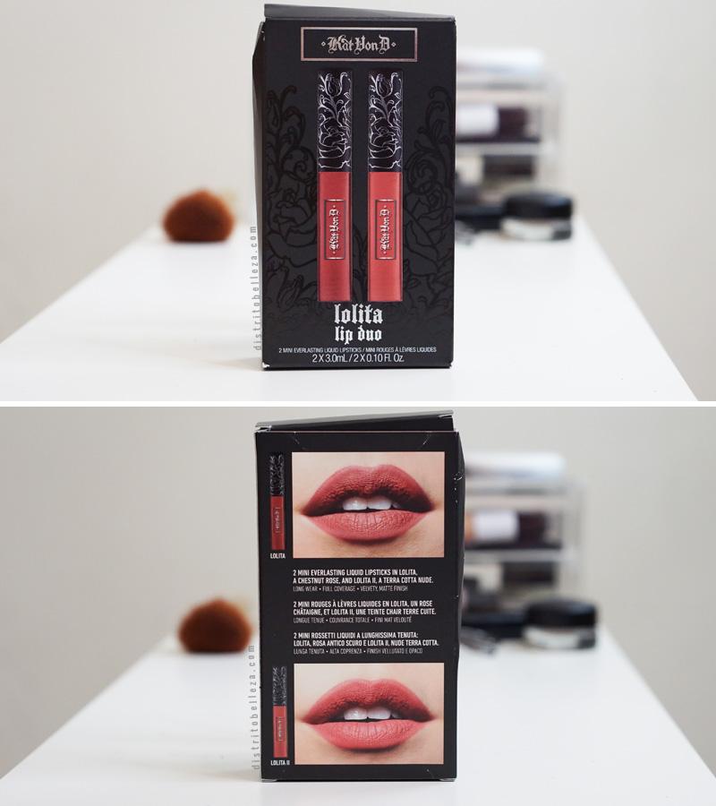 Labial Kat Von D Lolita 1 y 2 empaque