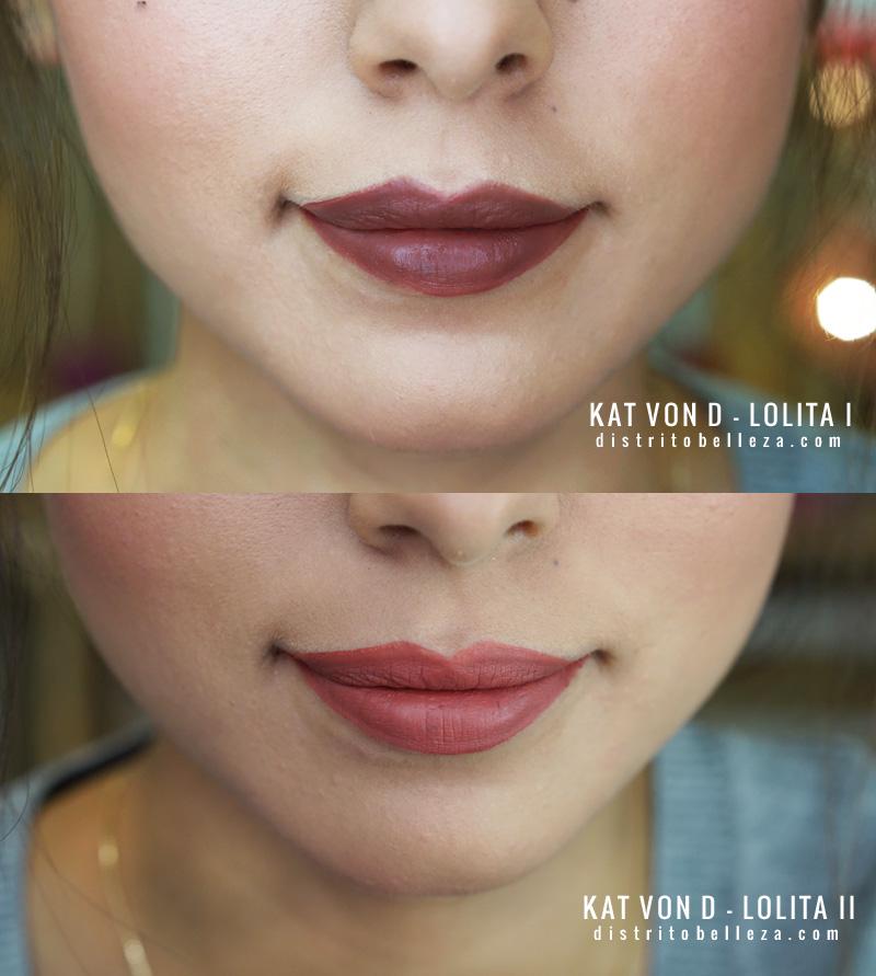 Labial Kat Von D Lolita 1 y 2 swatch lips