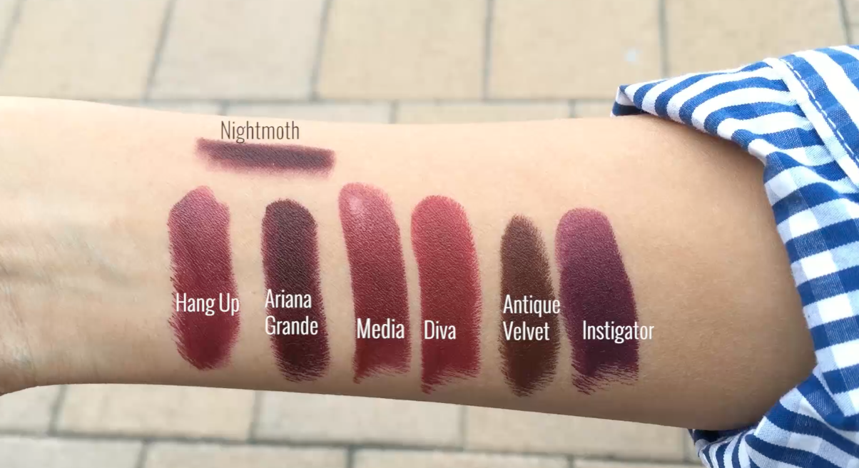 Labial Ariana Grande MAC vs diva, intigator, antique velvet,