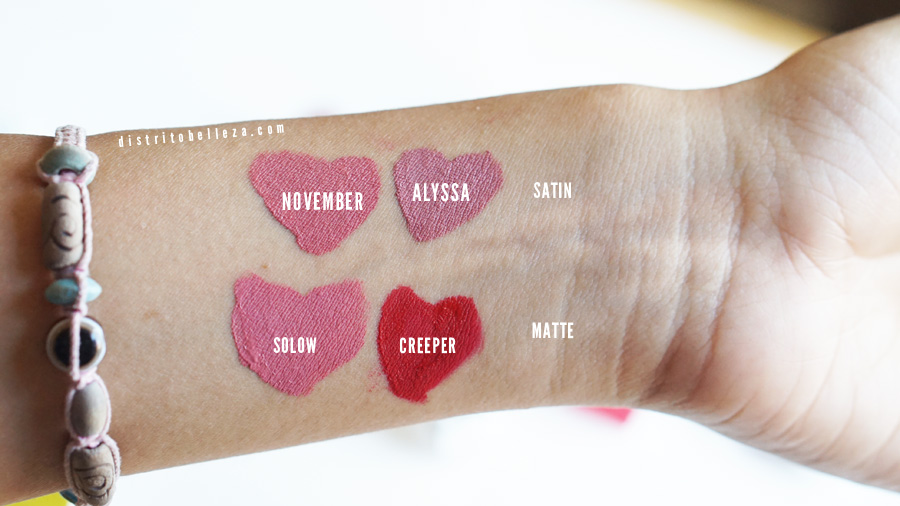 Labiales Colourpop mate vs satin colourpop méxico