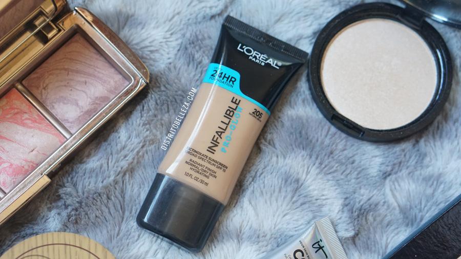 bases de maquillaje piel mixta loreal infallible pro glow 205