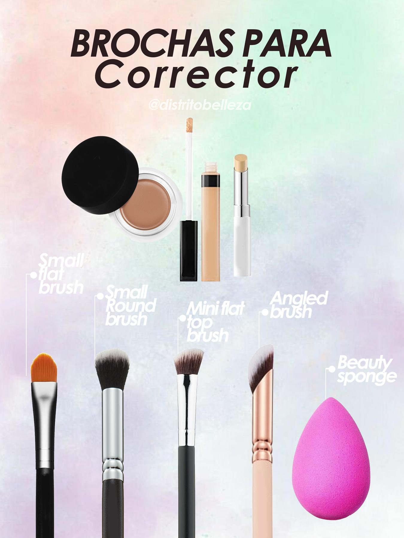brochas de maquillaje para base corrector distrito belleza