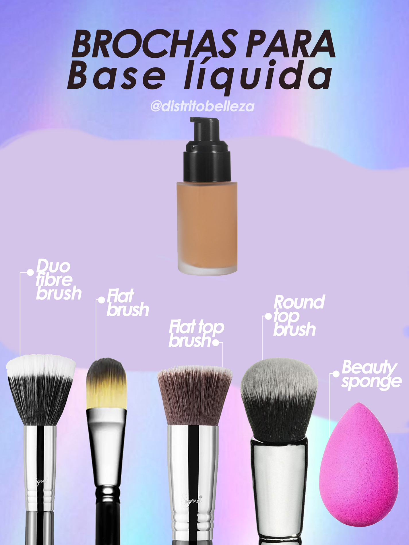 brochas de maquillaje para base maquillaje liquida distrito belleza