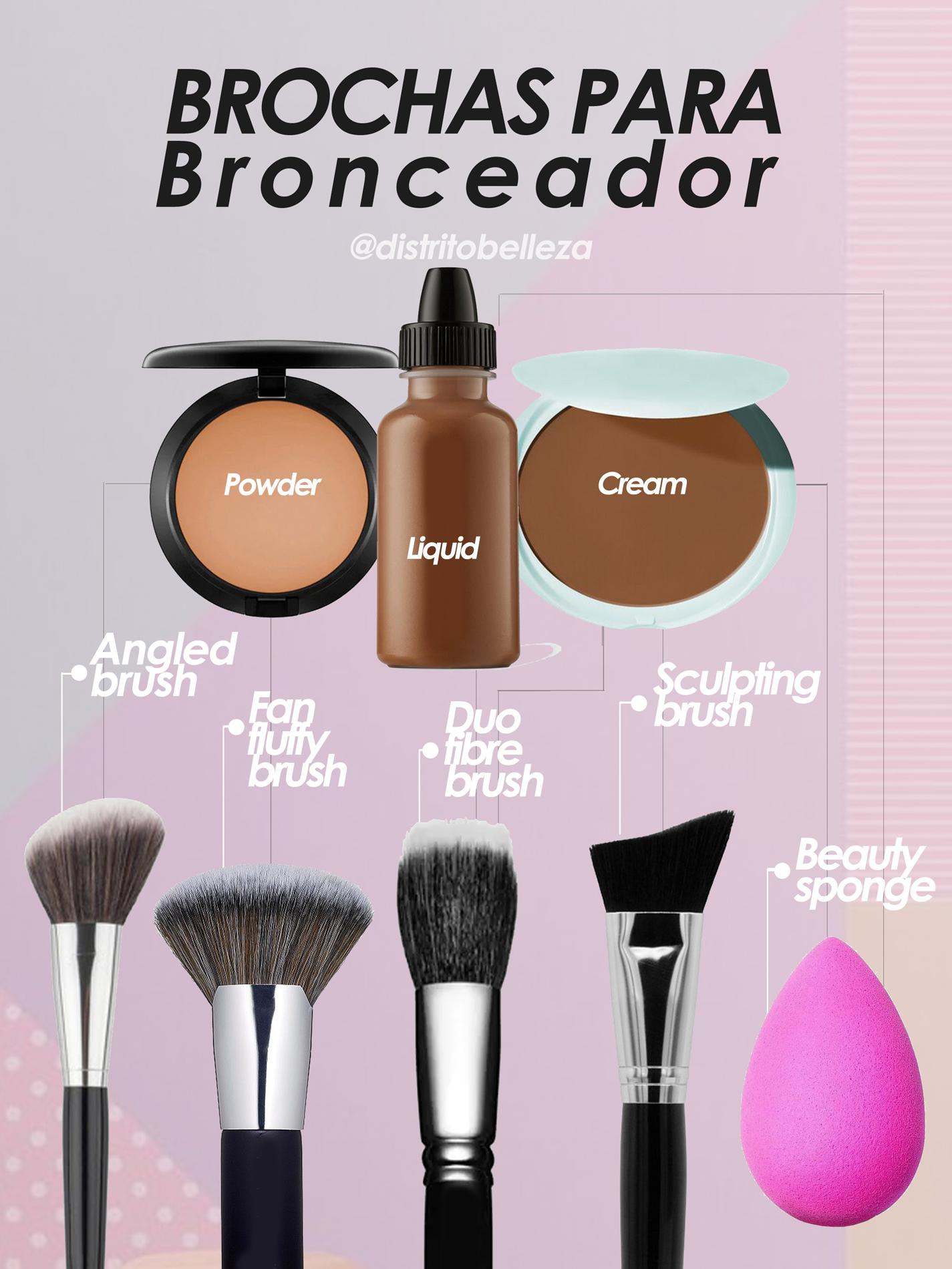 brochas de maquillaje para bronceador distrito belleza