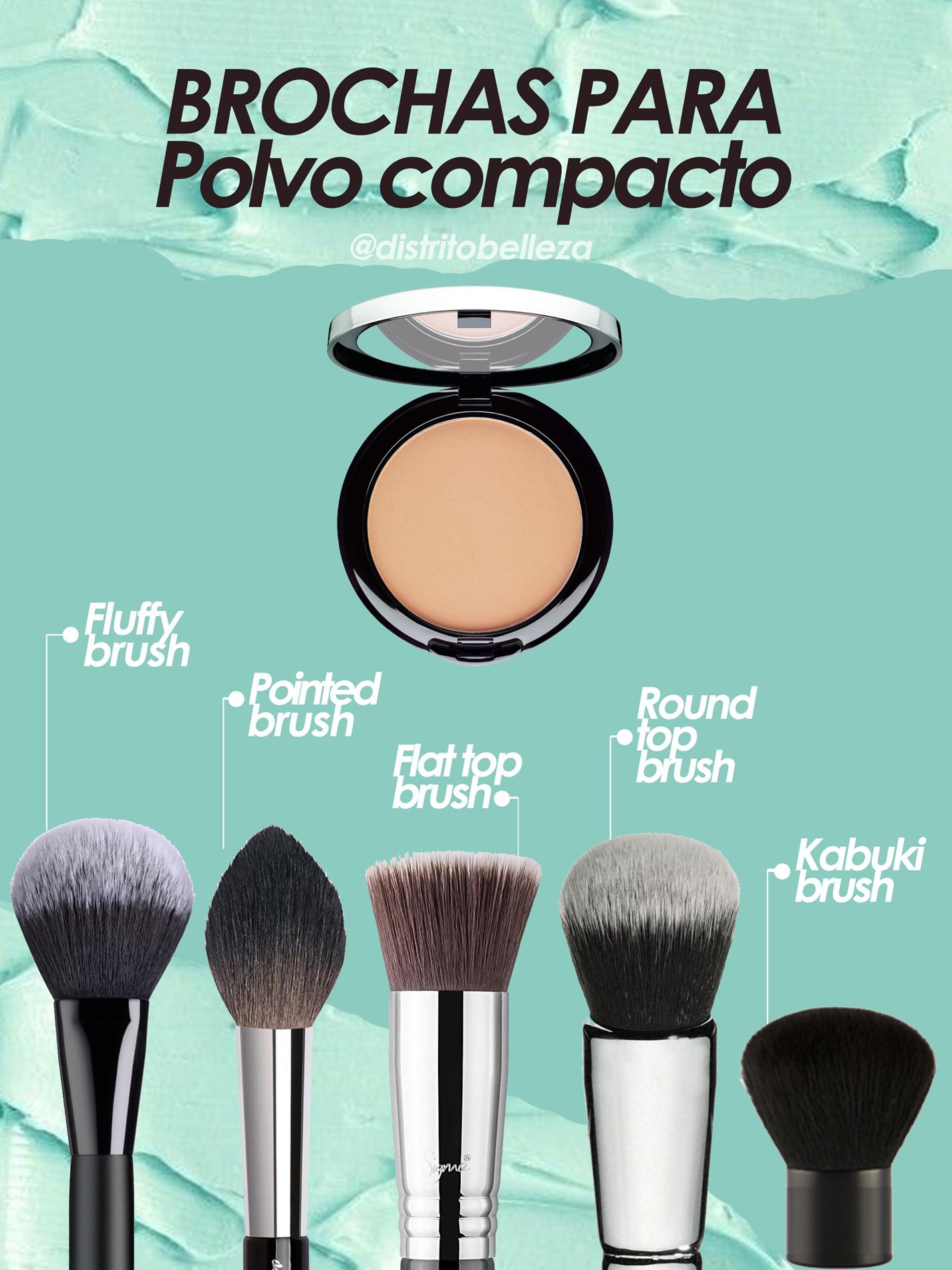 brochas de maquillaje para polvo compacto distrito belleza