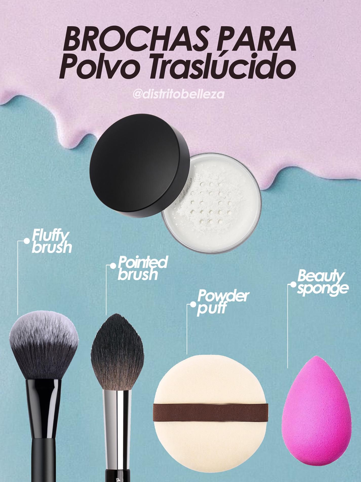 brochas de maquillaje polvo traslucido distrito